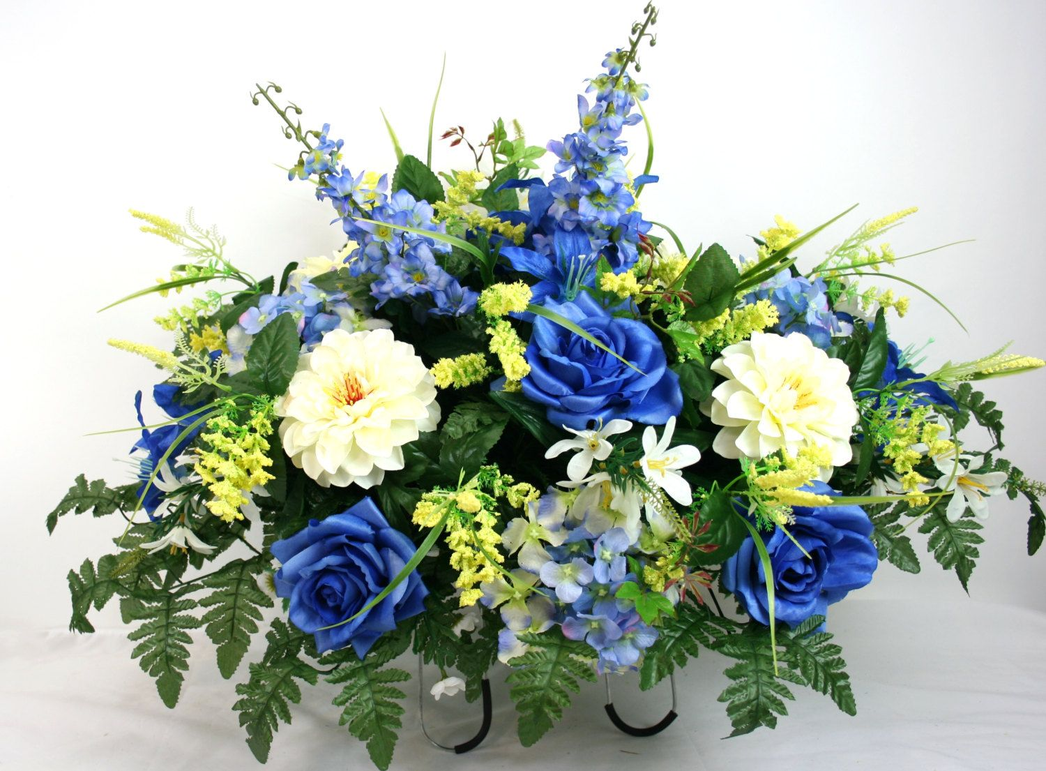 Xl mothers day blue roses silk flower cemetery tombstone saddle by xl mothers day blue roses silk flower cemetery tombstone saddle by crazyboutdeco on etsy mightylinksfo Choice Image