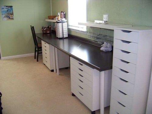 New Countertop Desk With Two Workstations Scrapbook Storage Ikea Craft Room Craft Room Design