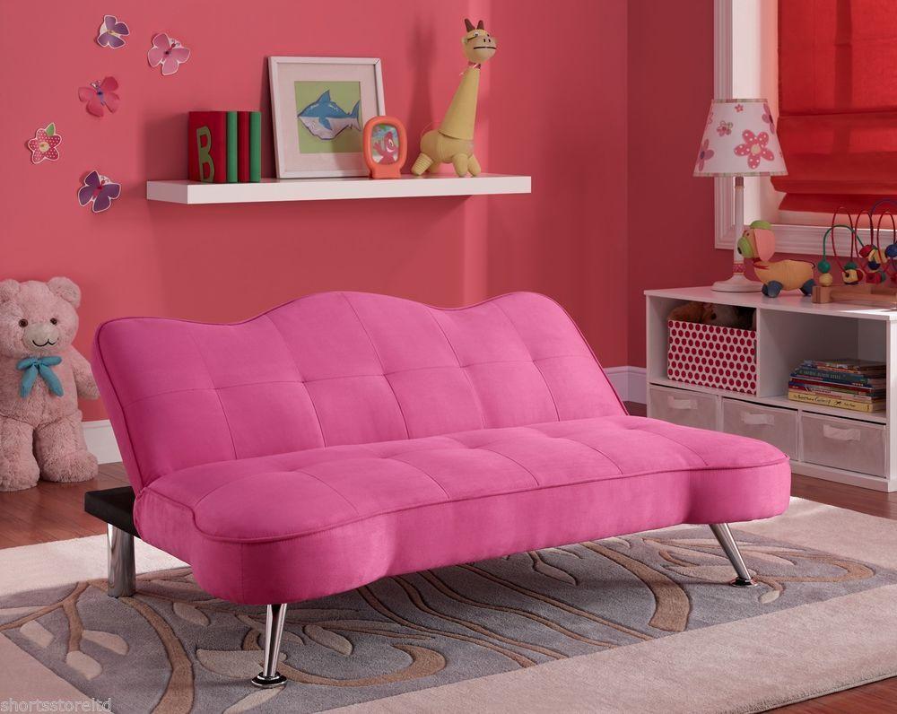 pink tufted upholstered futon sofa chaise lounger convertible fold down kids new pink tufted upholstered futon sofa chaise lounger convertible fold      rh   pinterest