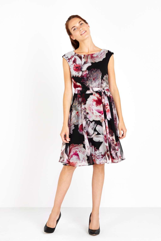 Black floral fit and flare dress fit flare dresses floral