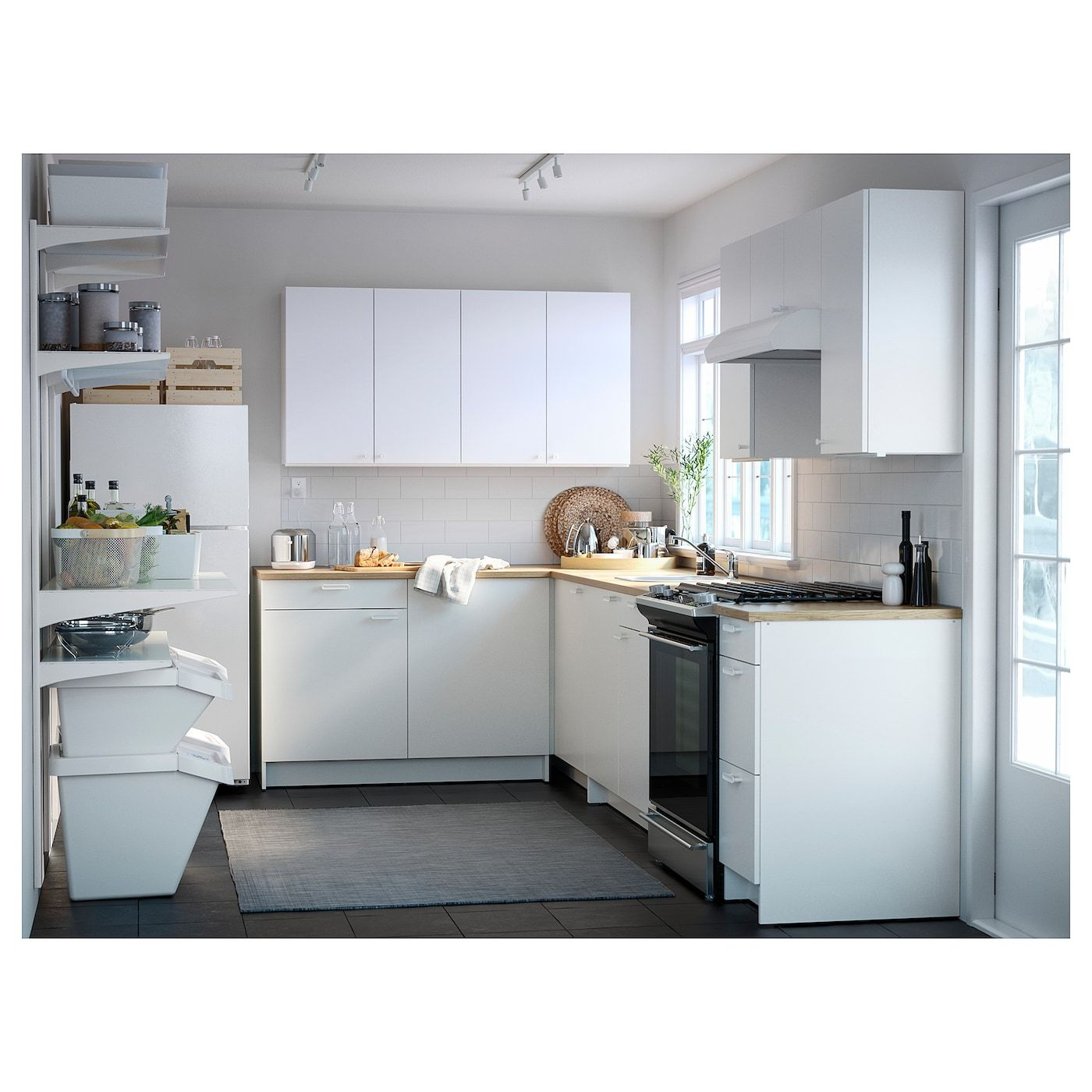 KNOXHULT Base with doors and drawer, white