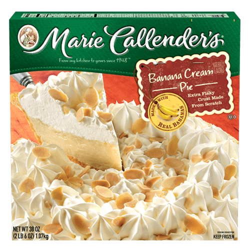 Marie Callender's Banana Cream Pie is made with real bananas, luscious custard filling, and delicious whipped cream topping. Enjoy a slice of delight