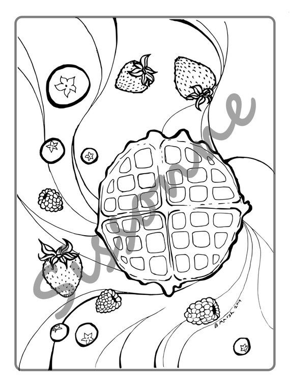 Waffle And Berry Breakfast Coloring Page Instant Pdf Download