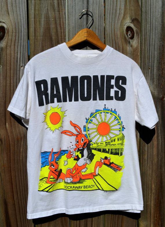 2c0b26e0 Vintage Authentic Original Ramones 1988 Rockaway Beach Genuine Tshirt Neon  Rock n Roll Hey ho lets go