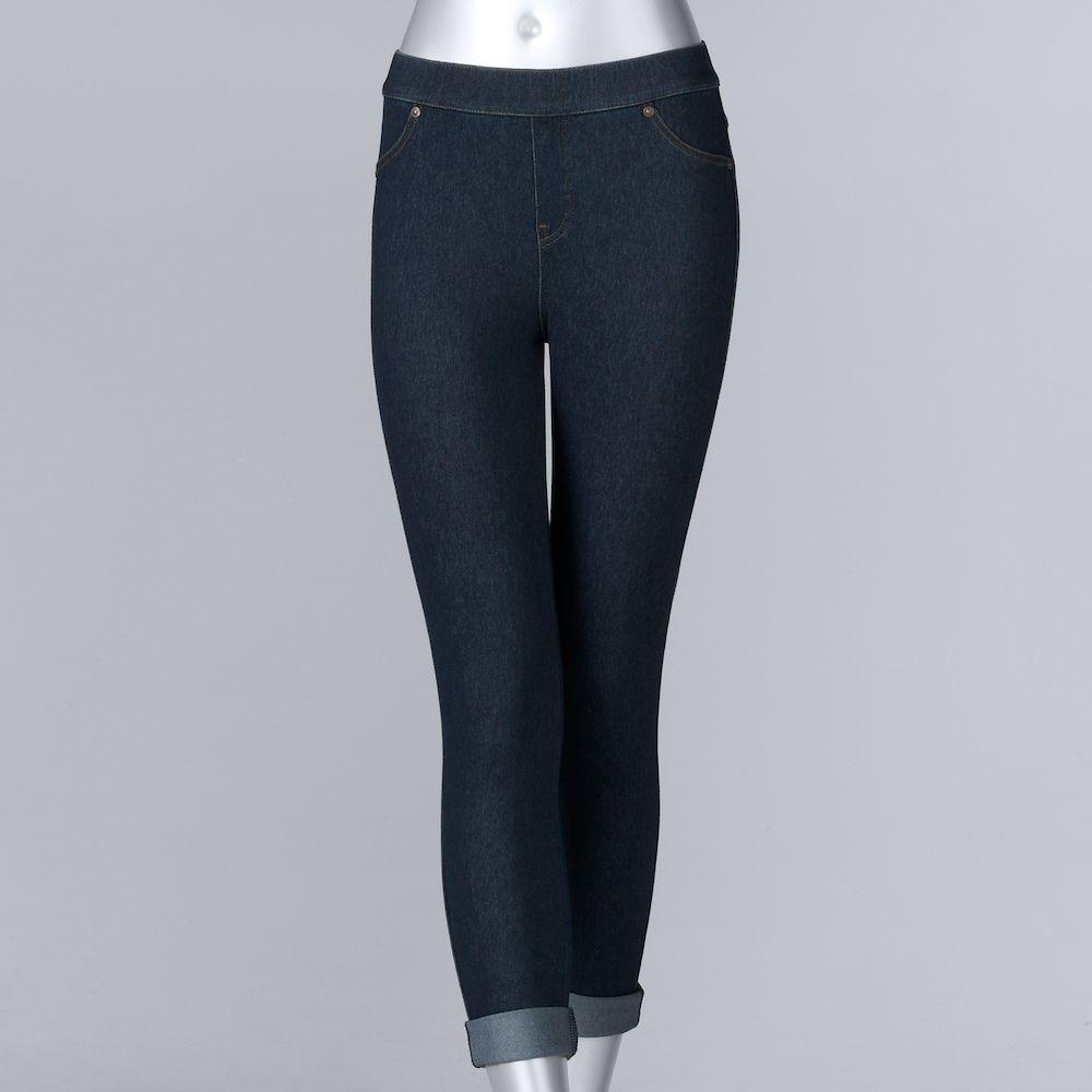 3ebeb3730ce55 Women's Simply Vera Vera Wang Cuffed Denim Capri Leggings, Size: Medium,  Dark Blue