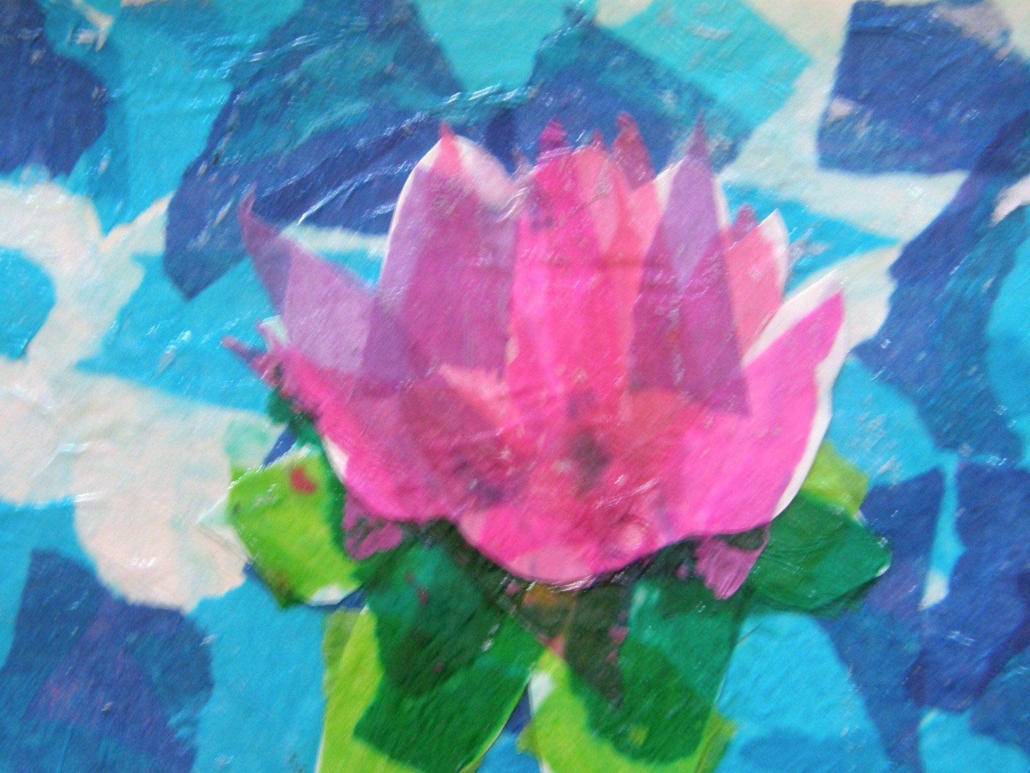 Lotus Flower Strength Art Tissue Paper Collage Art Therapy