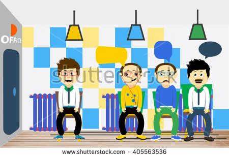 Flat Vector Illustration. People expect sitting queue. Vector line concept. People sit on chairs in a line. Patients waiting in Line. Hipster style. Characters in line with the thoughts in your head - stock vector