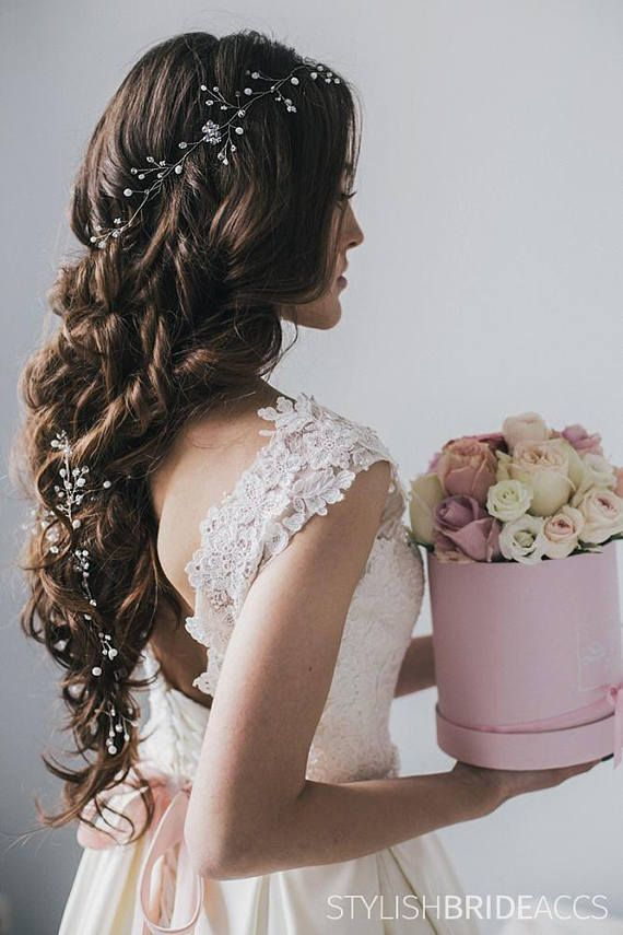 Wedding hair vine with white moon pearls and shiny crystals, Boho 2020 engagement Extra long hair vine , Prom crystal hair wreath