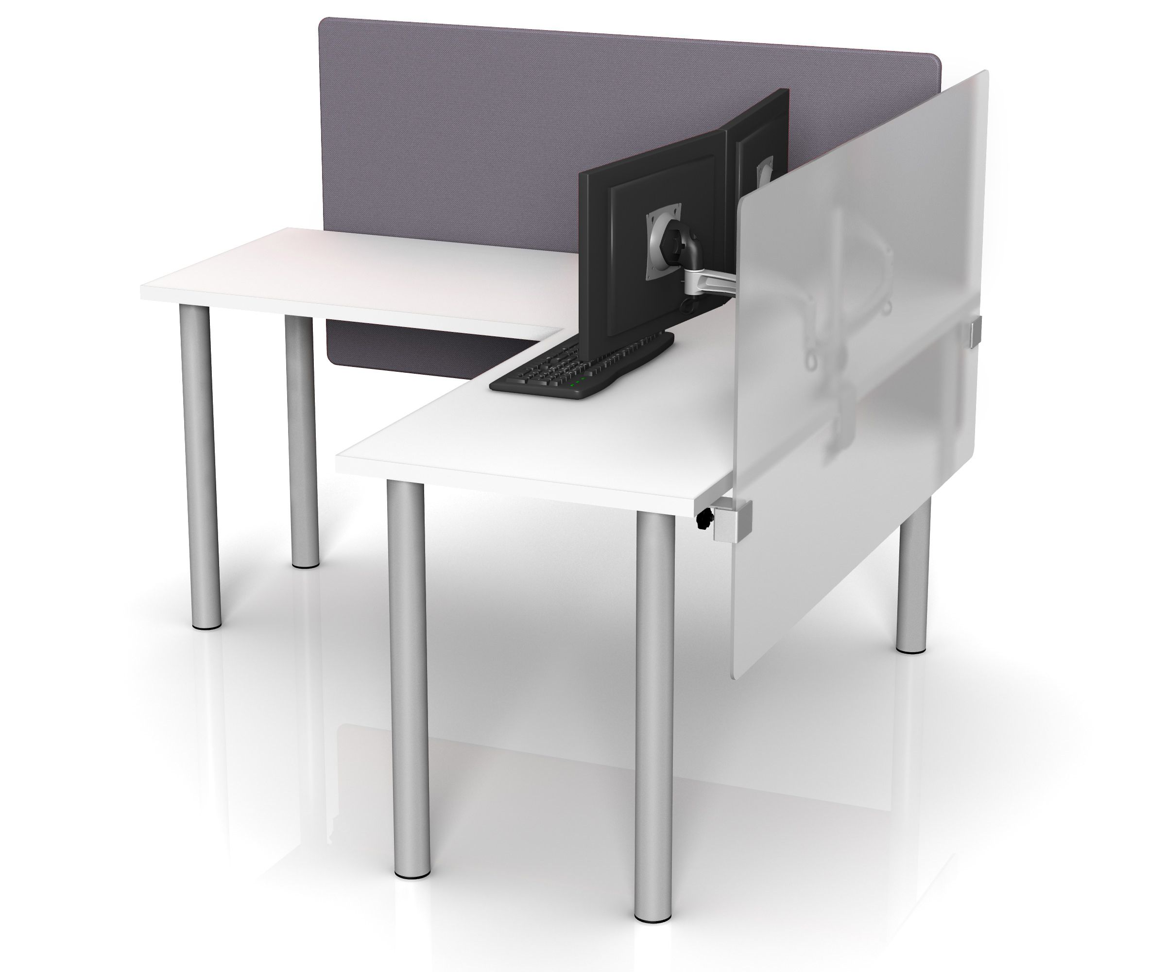 Design Acrylic Desks height adjustable desk dividers in fabric and frosted acrylic by merge works