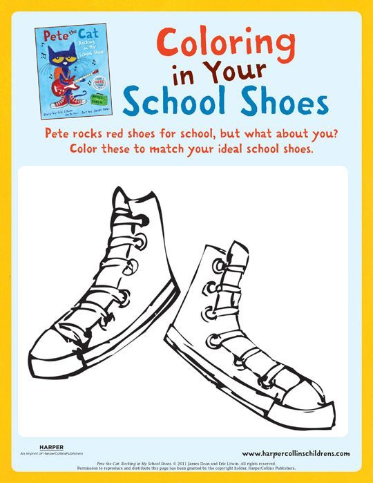 Pete the Cat Rocking In My School Shoes: Coloring | Kinder ideas ...
