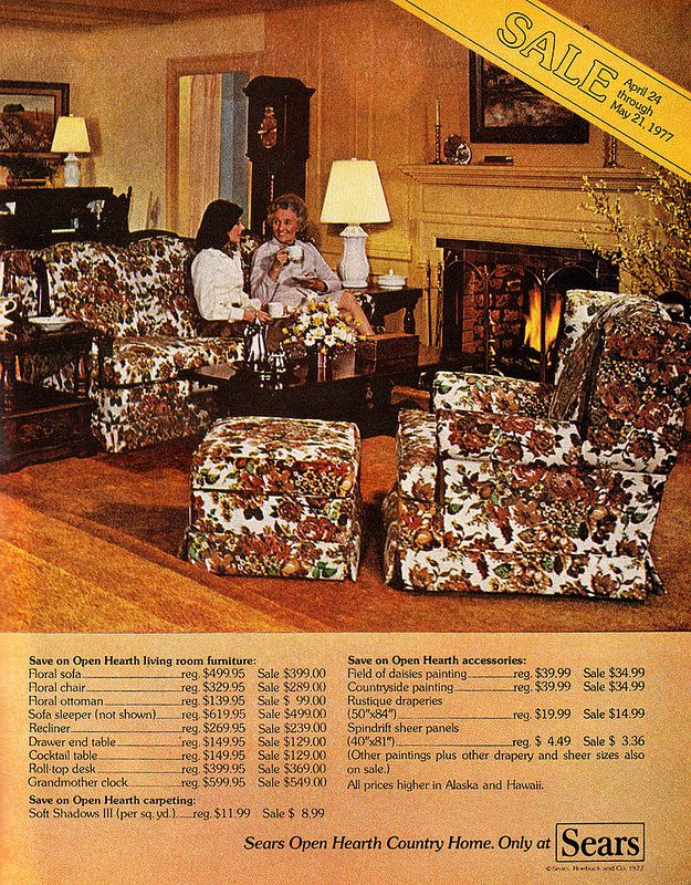 1977 Home Furnishings Ad Sears Open Hearth Country Home Furniture Floral Sofa Retro Home Vintage Home Decor #sears #living #room #furniture
