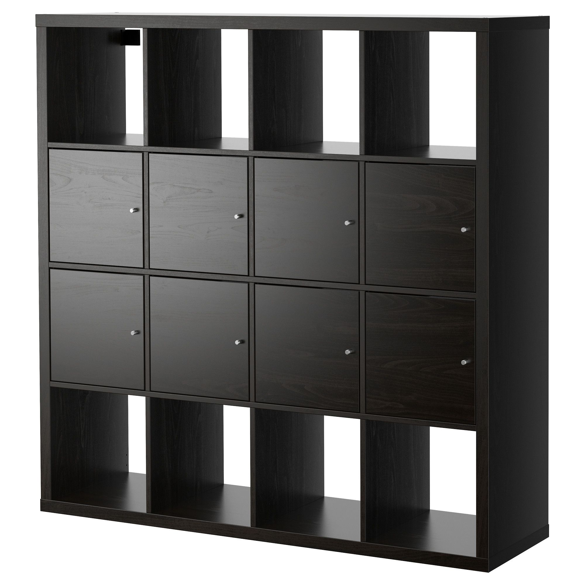 shelving unit with doors kallax shelf unit with 8 inserts black brown ikea craft 26051