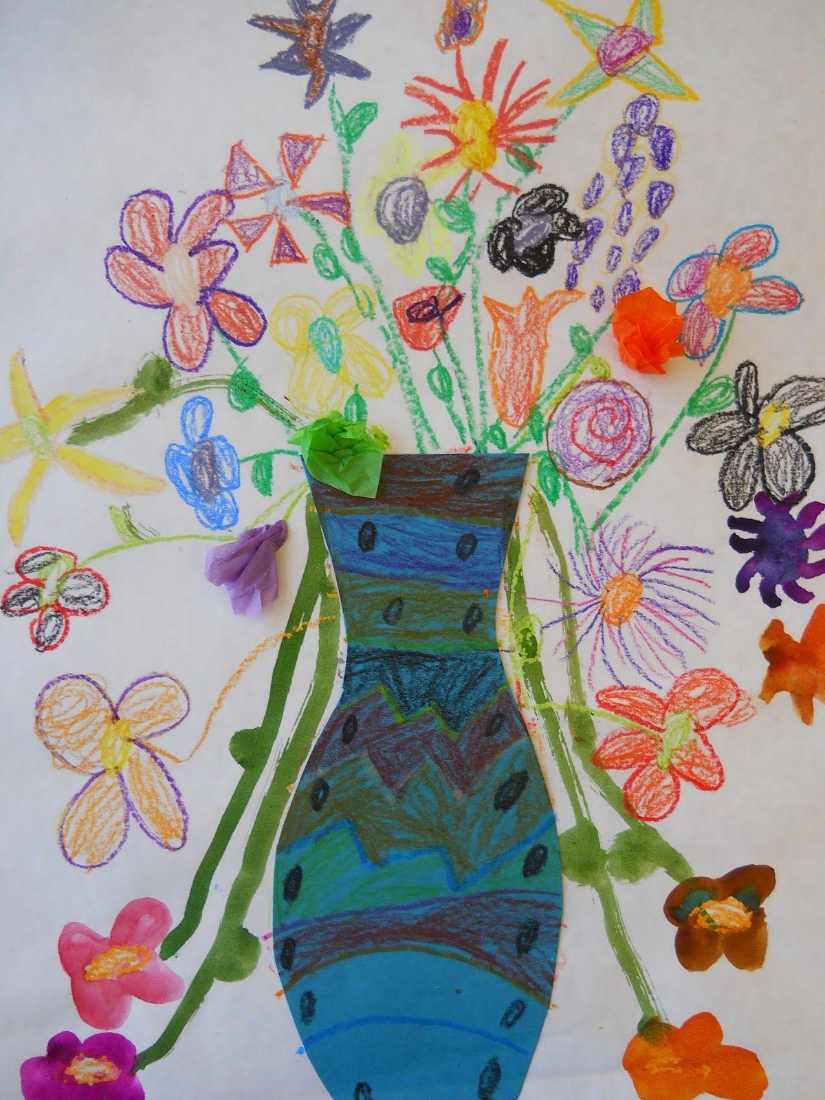 The Elementary Art Room!: Kindergarten spray paint over flowers with