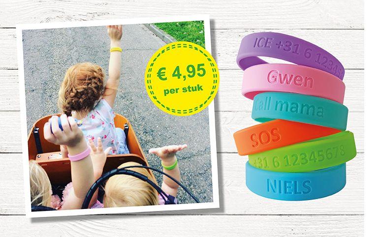 SOS bandje € 4,95 met naamtelefoonnummer MijnArmbandje.nl