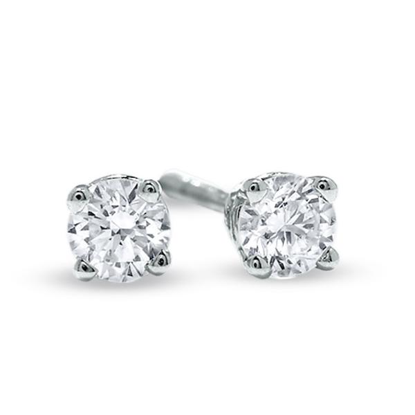 1 4 Ct T W Diamond Solitaire Stud Earrings In 14k White Gold In 2019 Stud Earrings White Gold Diamond