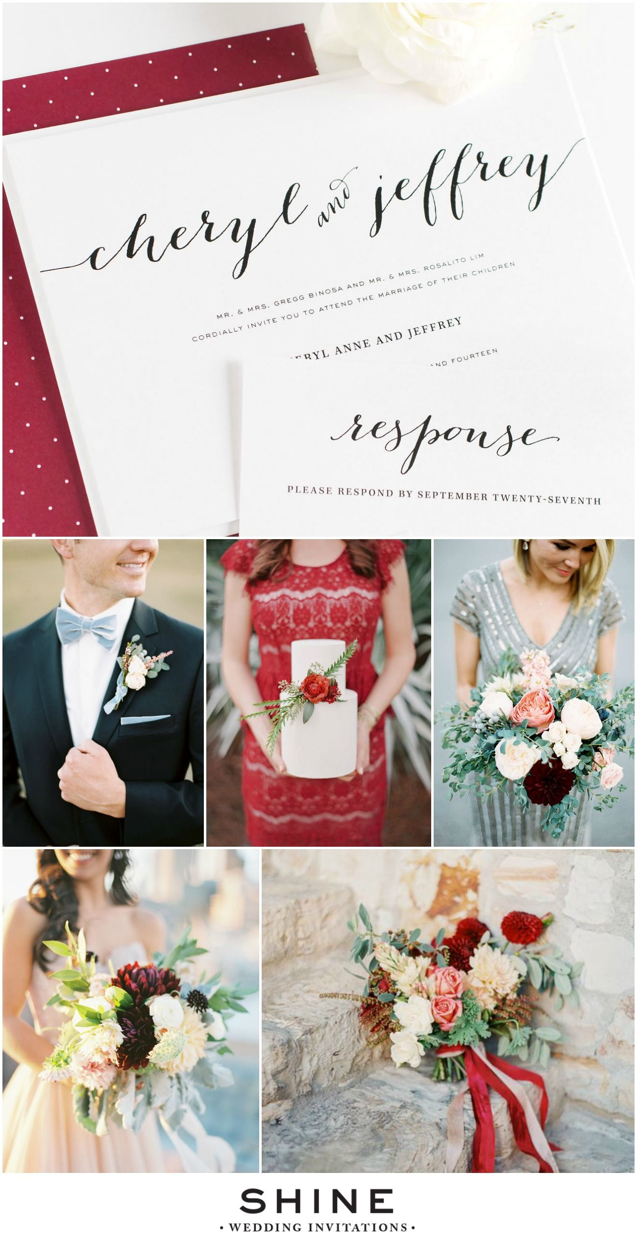 Dusty Blue and Cranberry Holiday Wedding Inspiration | Calligraphy ...