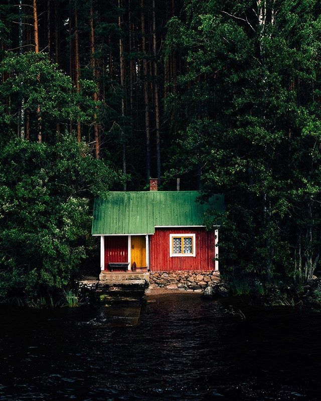 little red house.  Probably one of the best views to a mökki, one of the famous Finnish summer cottages, you have from the amazing M/S Puijo, a beautiful old ship that cruises between #Kuopio and #Savonlinna. #ourfinland by jn