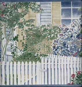 Country House Scene With White Picket Fence Flower Garden Wallpaper Border
