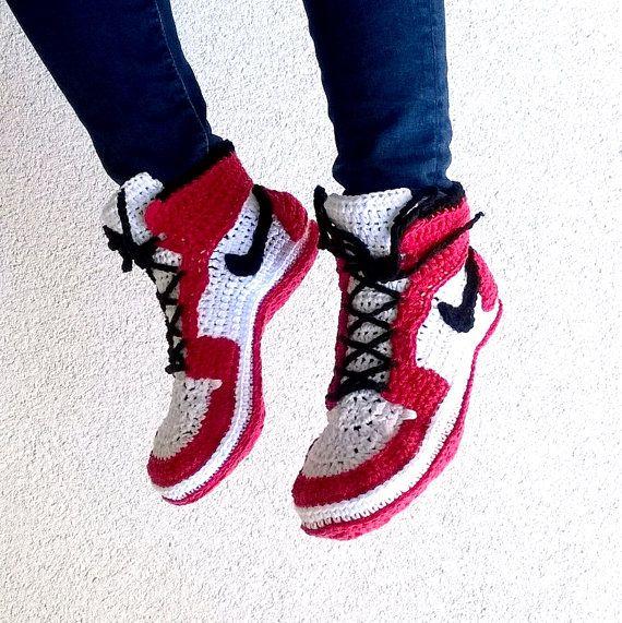 PATRON Zapatillas crochet estilo Air Jordans Talla Adultos | Ropa ...