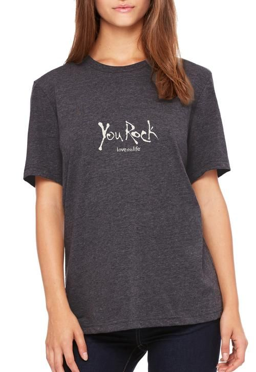 """Love This Life """"You Rock Manifesto"""" Relaxed S/S Tee - Dark Heather Gray"""