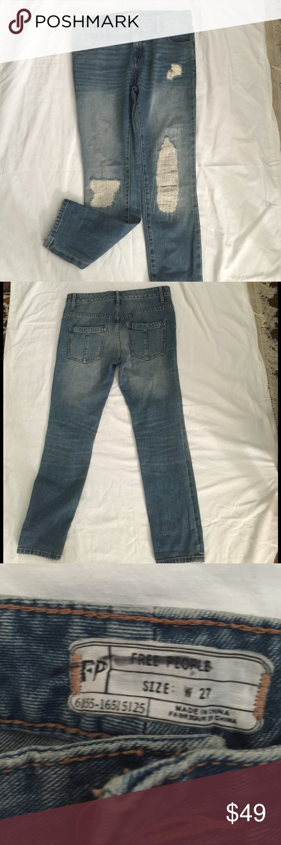 Free people distressed jeans Super cute free people jeans. Hardly been worn. Still in great condition! Size 27 but I think it might run a little small! Free People Jeans