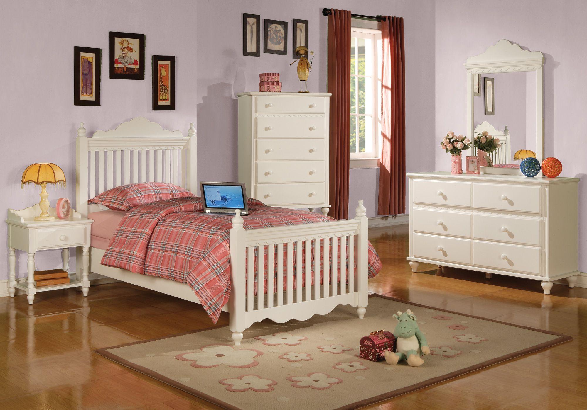 Interesting Twin Bedroom Set for Girls in White Palette