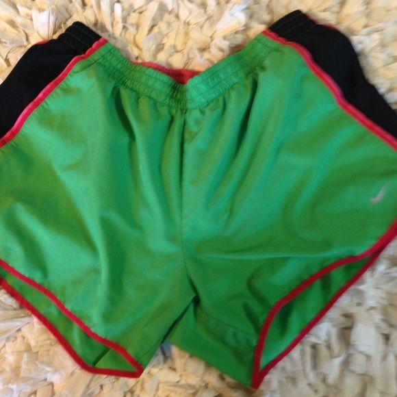 NIKE pink and green Dri-fit workout shorts- large Green with pink and black - size large- pink liner- size large Nike Shorts