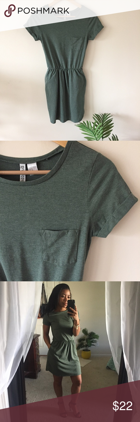 872b216d5beeb H M • Olive T-Shirt Dress DIVIDED Olive Green Dress. New without tags and