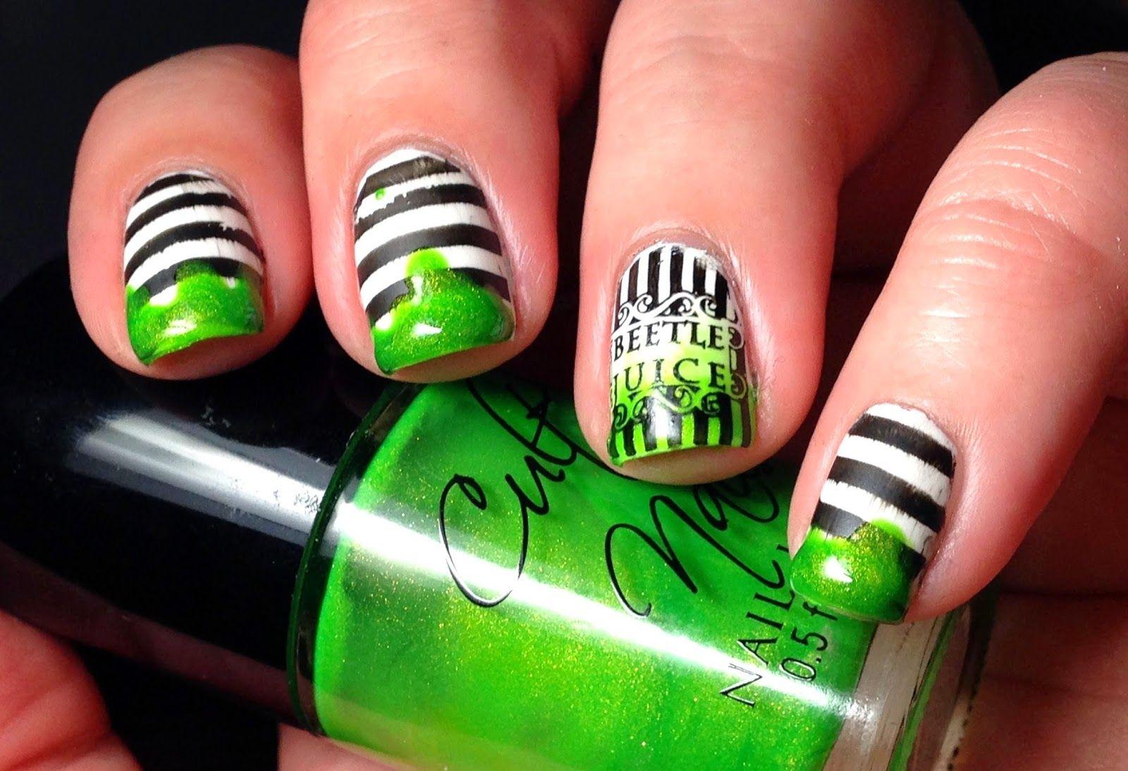 Beetlejuice Nails Nails Halloween Nails Diy Nail Art Hacks