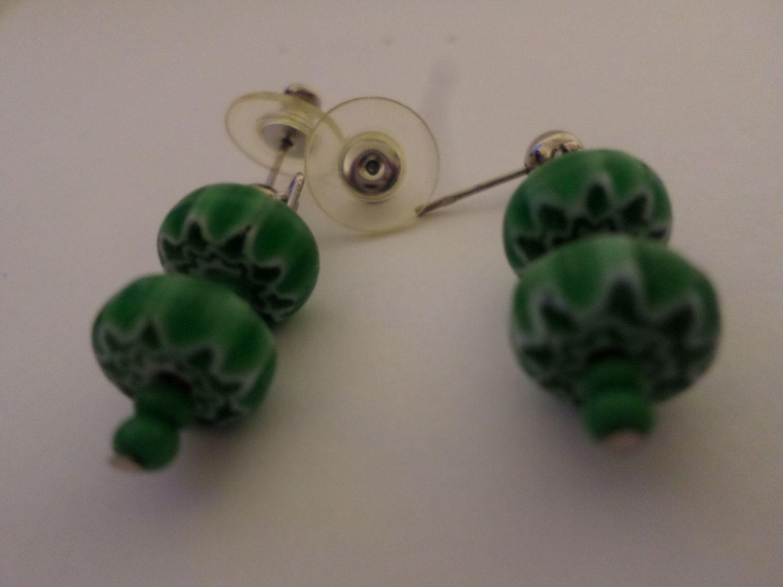 JeriAielloartstore, handmade by me, green dangle earrings,ornate green beads, green seed beads, pierced earrings, ball post earrings US made by JeriAielloartstore on Etsy
