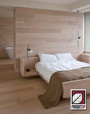 Painel de madeira no quarto - ParquetSP - Piso de madeira, escadas de  madeira parquet 85b40f1c0e