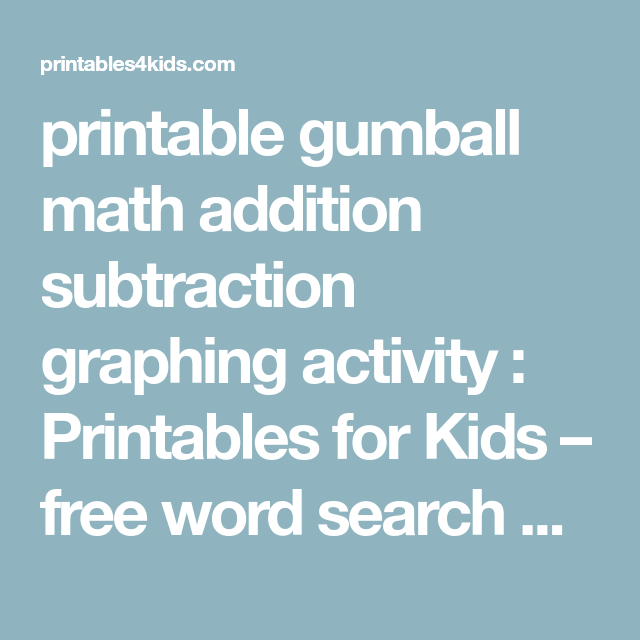 printable gumball math addition subtraction graphing activity ...