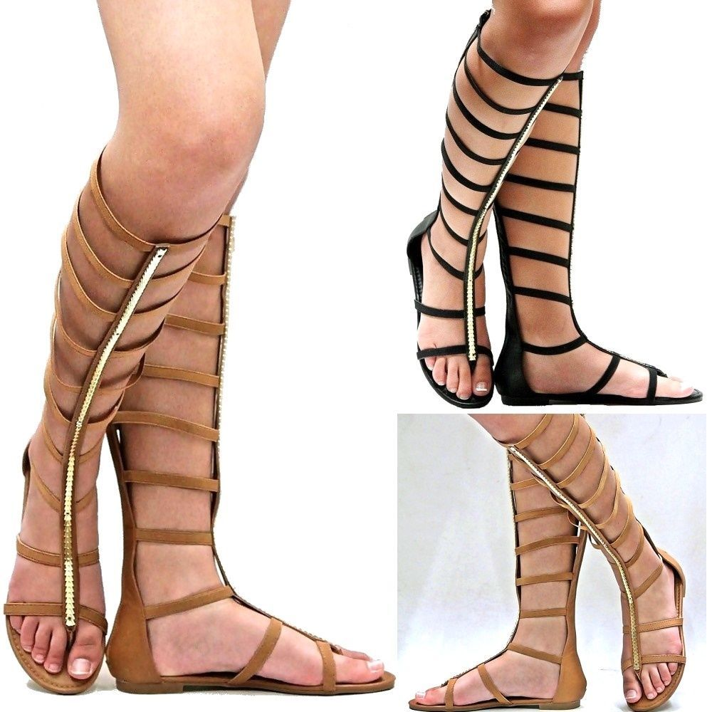 Women's Sexy Strappy Zip Gladiator Mid-Calf Flat Sandal Shoes Size 5.5 - 10 NEW