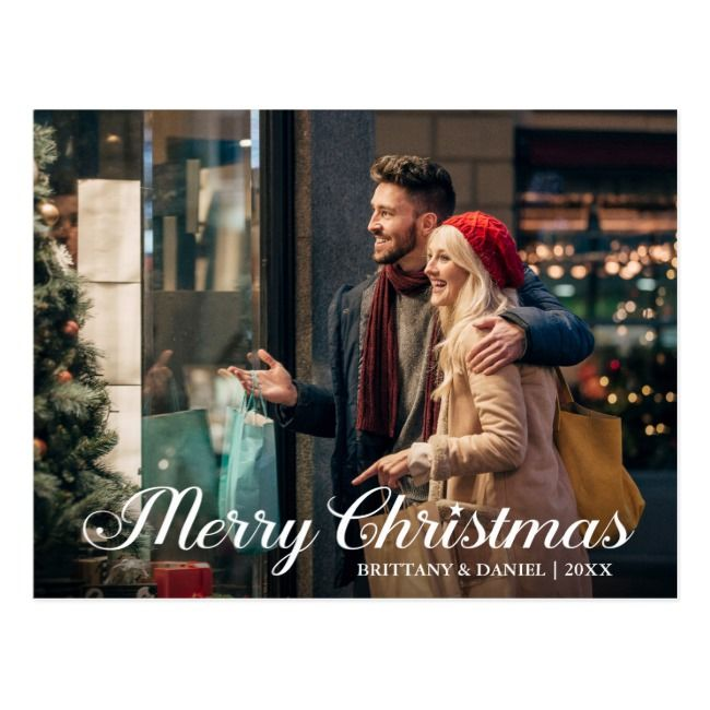Calligraphy Star Merry Christmas Couple Photo Postcard | Zazzle.com