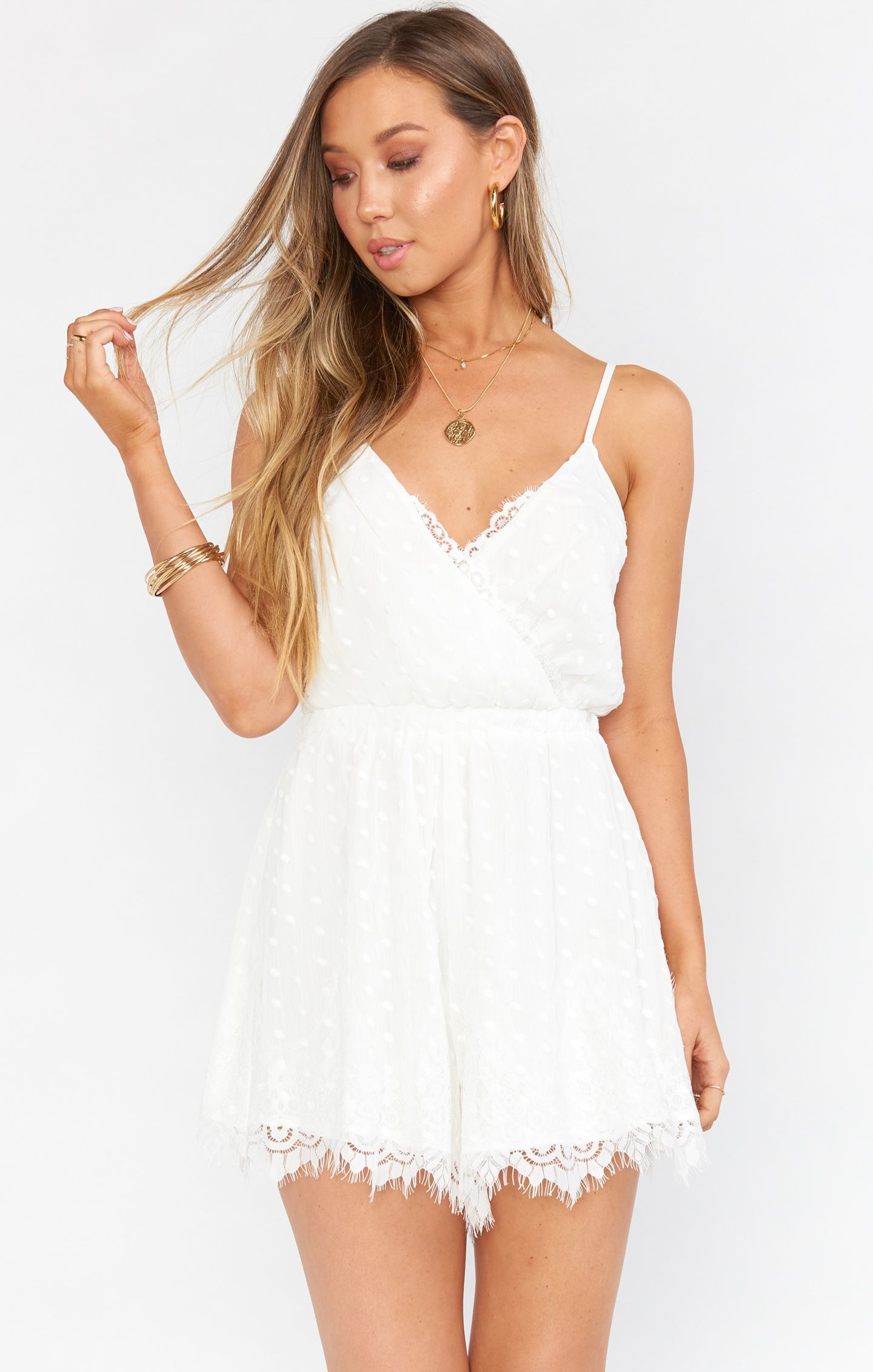Olympia Romper White Lace Bridesmaid Get Ready Outfit Shower Dress For Bride Wedding Rompers [ 2263 x 1440 Pixel ]
