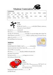 English worksheet: Telephone Conversations Fill in the blank