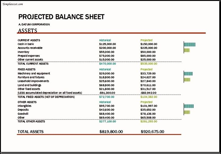 Projected Balance Sheet Template Excel Projected Balance Sheet Template Excel Templatezet Balance Sheet Template Balance Sheet Excel Templates