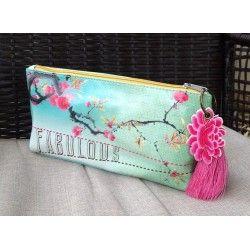 Fabulous Cherry Blossom Tree Papaya Art Cosmetic Vegan Oil Cloth Bag Tassel