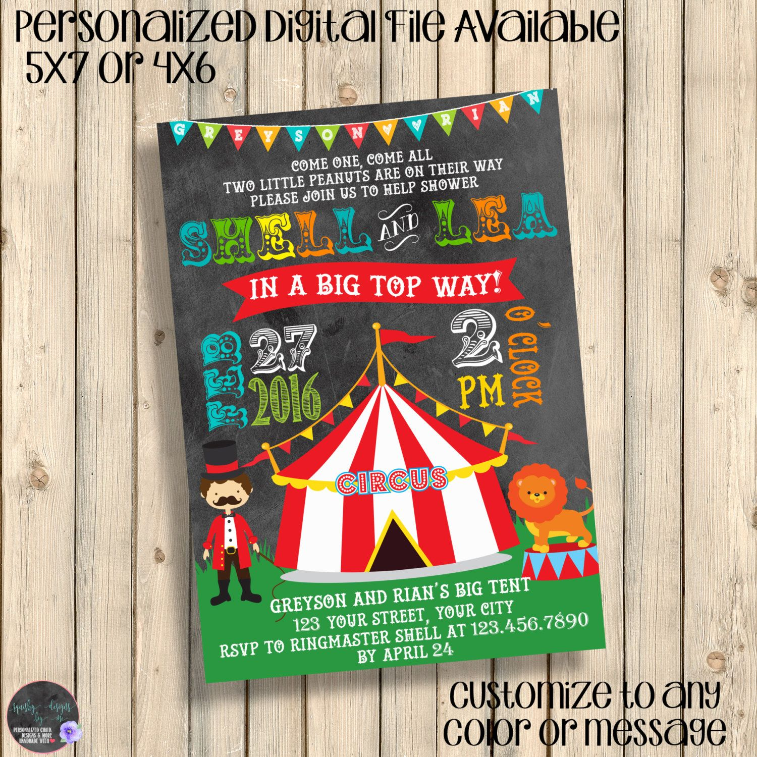 Circus Baby Shower Invitation, Couples Baby Shower Invite, Twins ...
