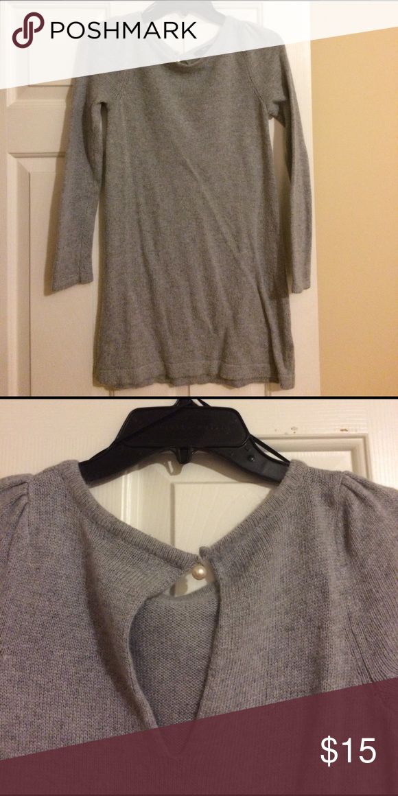 Juniors grey sweater dress Wool grey dress with pearl closure at top. Great Condition! Measures 27 inches from collar to bottom H & M Dresses Long Sleeve