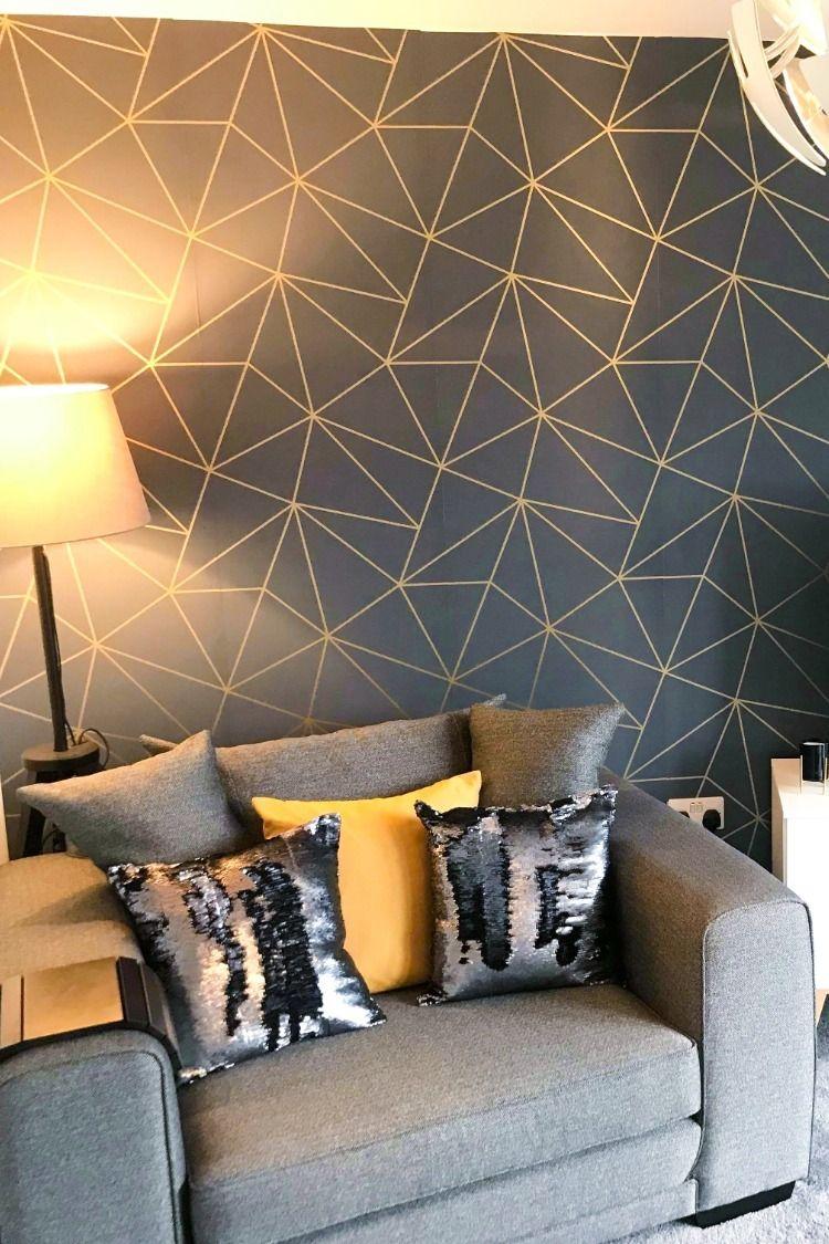 Zara Shimmer Metallic Wallpaper Navy Gold Art deco