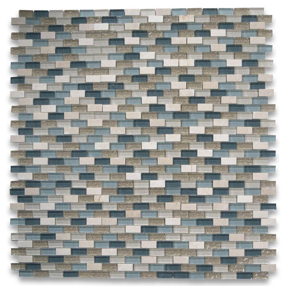 Gray Blue Beige Light Brown Glass Mix Crema Marfil Marble 1x2 Brick Mosaic Tile Stone Center Online Mosaic Tiles Mosaic Beige