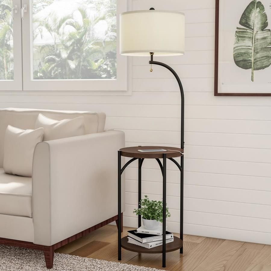 Hastings Home Lamps 58 In Off White Floor Lamp Lowes Com White Floor Lamp Rustic Side Table Floor Lamp Table