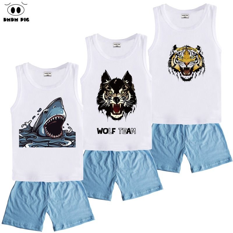 a9407e451 DMDM PIG Cartoon Shark Baby Clothes For Boys Girls Clothes Sets Children's  Clothing Sets Sports Suits For Boys T-Shirts + Shorts