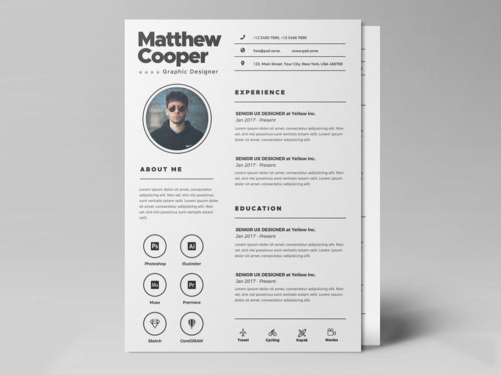 Free Clean PSD Resume Template for Any Job Opportunity # ...