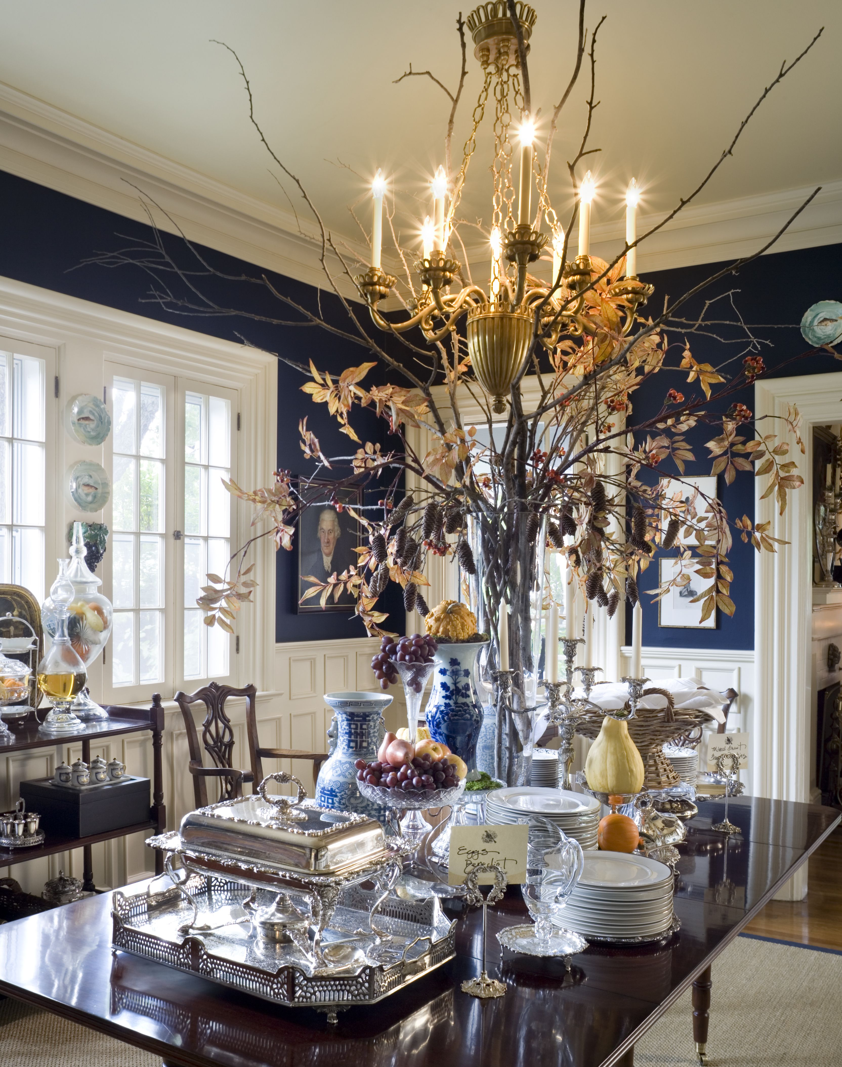 Blue And White Dining Room Ideas Part - 33: Dark Blue Walls And Ornate White Trim. The Centerpiece That Reaches Almost  To The Ceiling Prevents Me From Seeing The Room From A Complete Design ...