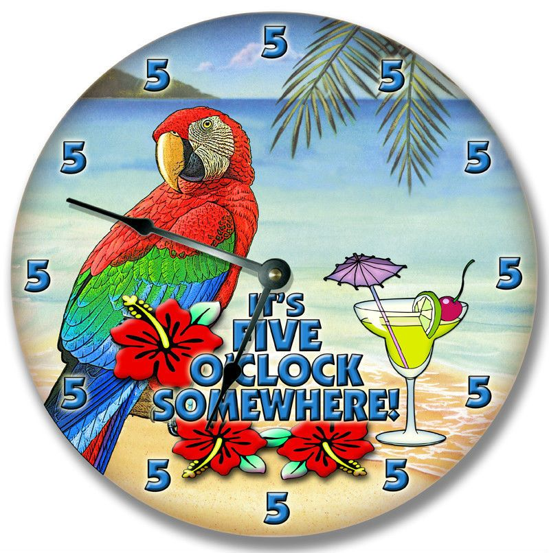 5 o'clock somewhere wall clock margarita parrot | Margaritas, Wall ...