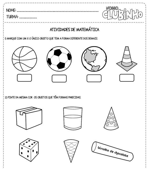 Plano De Aula Os Objetos E Suas Formas Atividades De Matematica