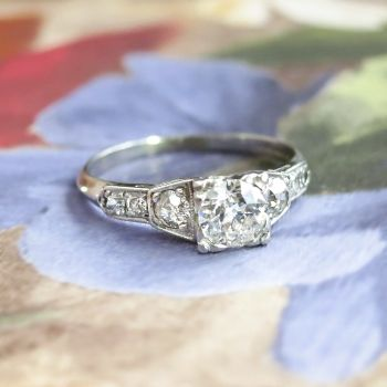 Art Deco Vintage 1930 S Old European Cut Diamond Engagement Wedding Anniversary Ring Platinum