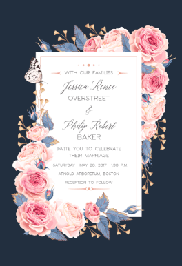 Climbing Roses printable invitation template Customize add text